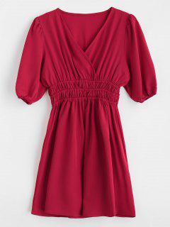 A Line Surplice Short Dress - Red M