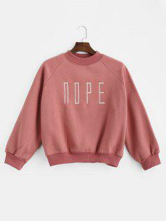 Raglan Sleeve Embroidered Fleece Sweatshirt - Watermelon Pink S