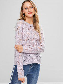 Lose Strick Cable Knit Sweater - Glyzinie Lila