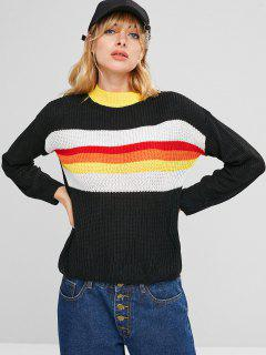 Contrasting Colorful Stripes Sweater - Black