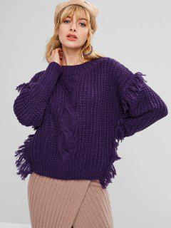 Chunky Fringed Cable Knit Sweater - Purple Iris
