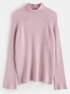 Suéter De Cuello Alto De Manga Raglán Suéter - Cerdo Rosa