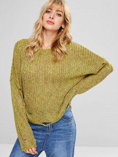 Loose Distressed Heathered Sweater - Avocado Green