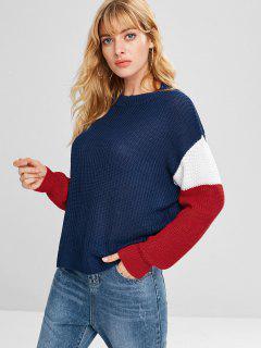 Drop Shoulder Loose Color Block Sweater - Navy Blue