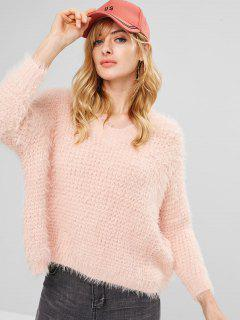 Fuzzy Textured Pullover Sweater - Light Pink