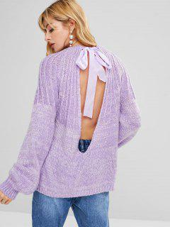 Ribbon Tie Open Back Sweater - Mauve