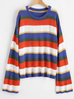 Jersey Con Cuello Redondo Y Rayas Coloridas - Multicolor