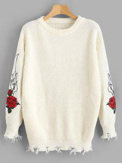 Distressed Hem Floral Embroidered Sweater - White