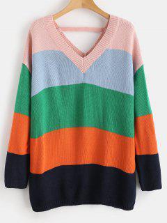 Cutout Color Block Tunic Sweater - Multi