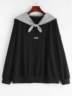 Letter Loose Sweatshirt With Scarf - Black