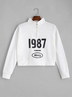 Half Zip Figure Print Sweatshirt - White S