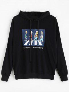 Drop Shoulder Figure Print Tunic Hoodie - Black