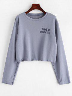 Drop Shoulder Letter Sweatshirt - Blue Gray