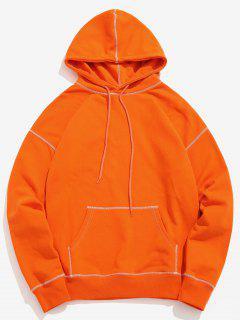 Contrast Flat Locked Seams Hoodie - Pumpkin Orange S