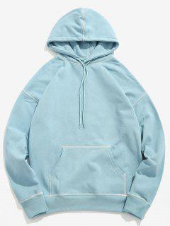 Contrast Flat Locked Seams Hoodie - Baby Blue Xl