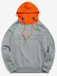 Color Block Patch Fleece Hoodie - Cloudy Gray Xl
