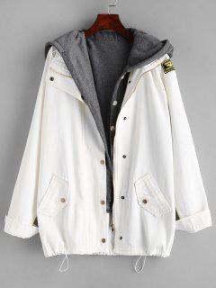 Button Up Denim Jacket And Hooded Vest - White Xl