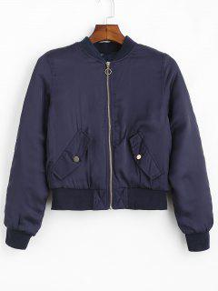 Zip Front Ruched Bomber Jacket - Midnight Blue L
