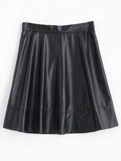 A Line Midi Faux Leather Skirt - Black S
