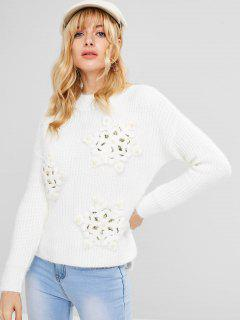 Slit Beaded High Low Sweater - White