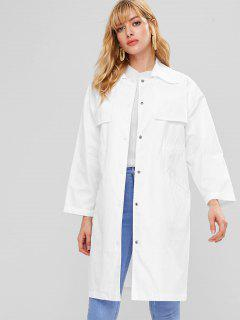 Overlay Pockets Snap Button Coat - White