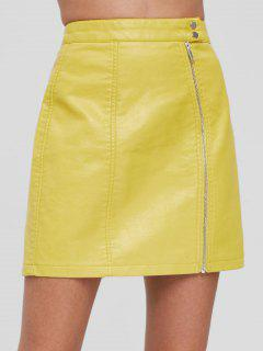 Zip Front Faux Leather Skirt - Yellow S
