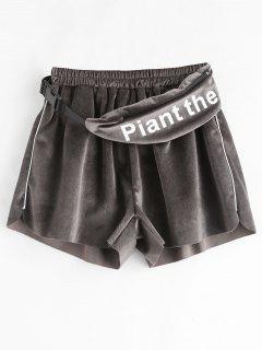 Velvet Shorts With Waist Bag - Dark Gray L