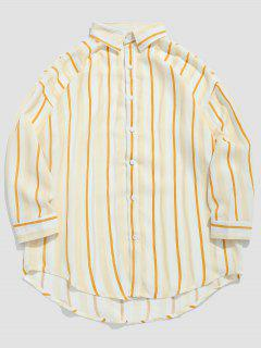 Striped Print Casual Shirt - Bee Yellow M