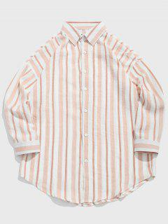 Striped Print Casual Shirt - Pig Pink L