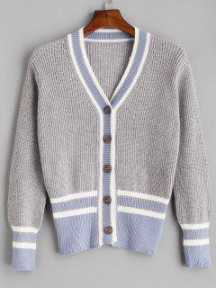 Striped Button Up Preppy Cardigan - Gray