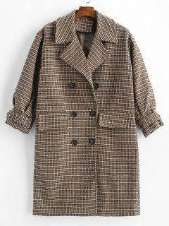 Double Breasted Houndstooth Wool Blend Coat - Multi M