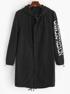 Letter Print Zip Trench Coat - Black M