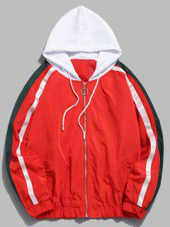 Side Striped Zip Hooded Jacket - Red L