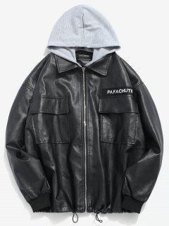 Detachable Hat PU Pocket Jacket - Black L