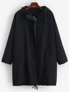 Solid Zipper Hooded Trench Coat - Black Xl