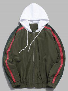 Side Striped Zip Hooded Jacket - Army Green L