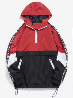 Contrast Half Zip Letter Striped Hoodie - Red L