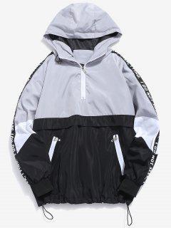 Contrast Half Zip Letter Striped Hoodie - Gray Cloud Xl