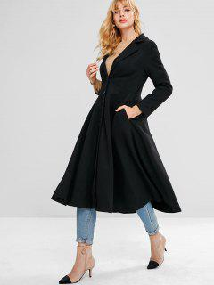 Wool Blend Skirted Coat - Black L