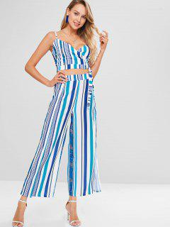 Striped Crop Top With Wide Leg Pants - Multi L