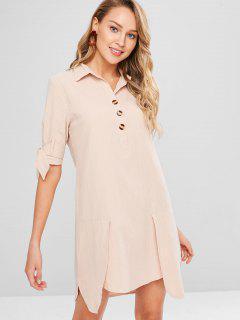Button Placket Shirt Dress - Champagne Xl