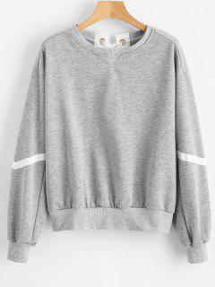 Lace Up Heather Sweatshirt - Light Gray M