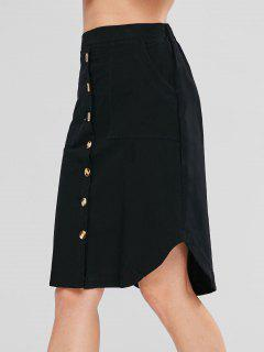 Button Up Knee Length Skirt - Black S