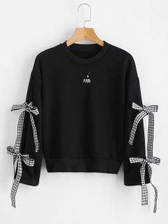 Ribbon Embroidered Drop Shoulder Sweatshirt - Black
