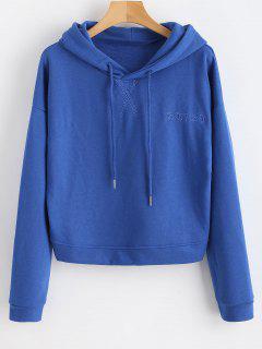 Embroidered Drop Shoulder Drawstring Hoodie - Ocean Blue M