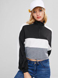 Color Block Half Zipper Sweatshirt - Multi