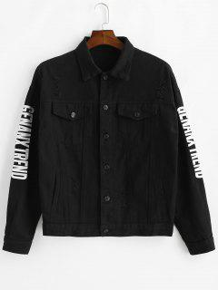 Faux Pockets Letter Print Ripped Jacket - Black L