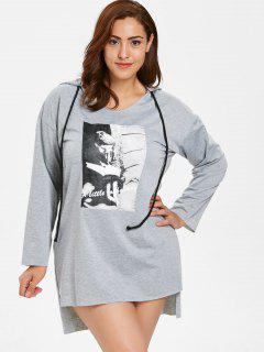 Plus Size Graphic Hooded High Low Dress - Light Gray 2x