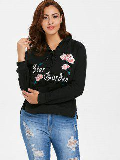 Floral Embroidered High Low Plus Size Hoodie - Black 3x