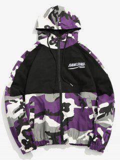 Camo Patchwork Embroidered Letter Jacket - Purple M